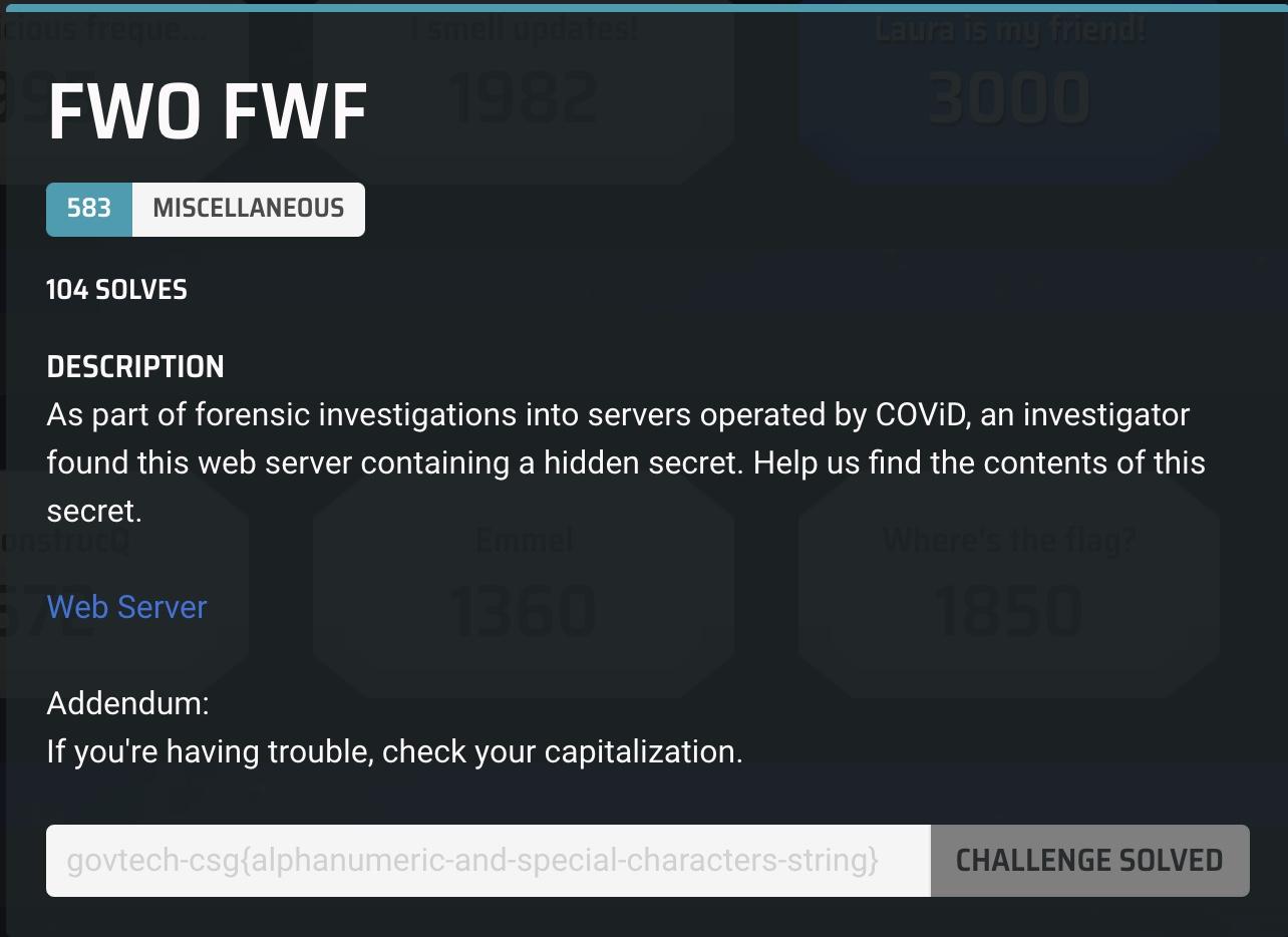 FWO FWF Challenge Description