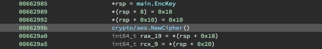 Excerpt of main.visit.func1 initializing the cipher with the EncKey