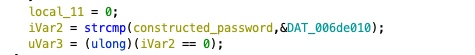 Comparing the constructed password with a static value